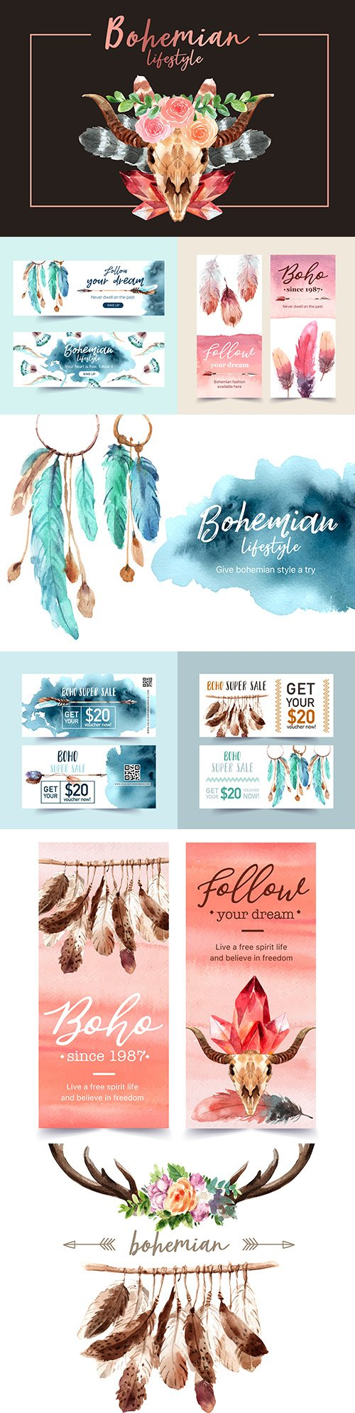 Bohemian voucher design and banner illustration watercolor