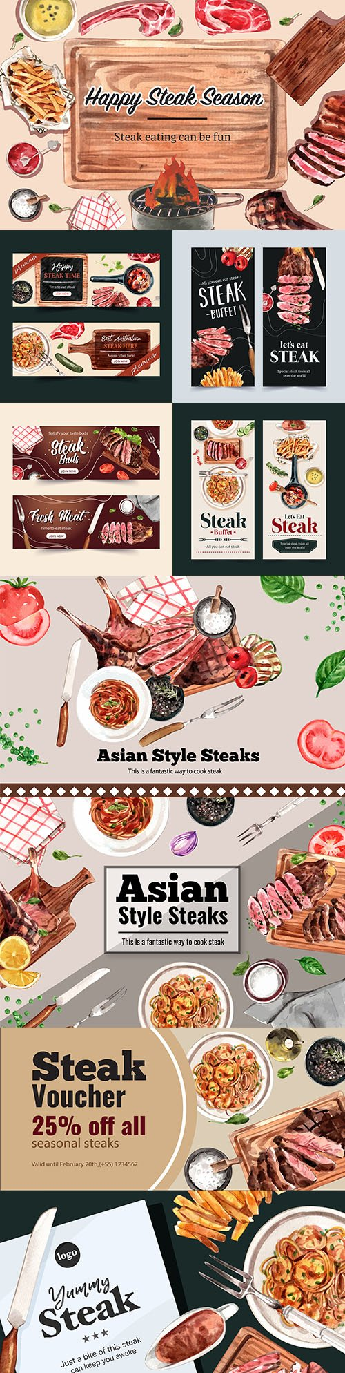 Steak banner design with fried meat, spaghetti watercolor illustrations
