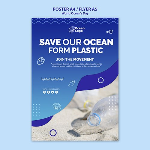 World oceans day poster PSD template concept
