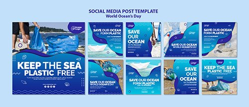 World oceans day social media post PSD template