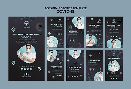 Instagram stories PSD template with covid 19