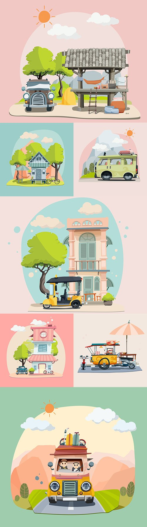 Travel during vacation and Pastel House illustration