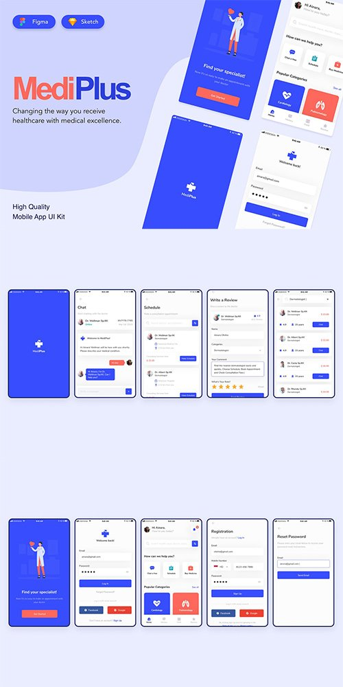 Medical Mobile UI Kit Design - Figma and Sketch