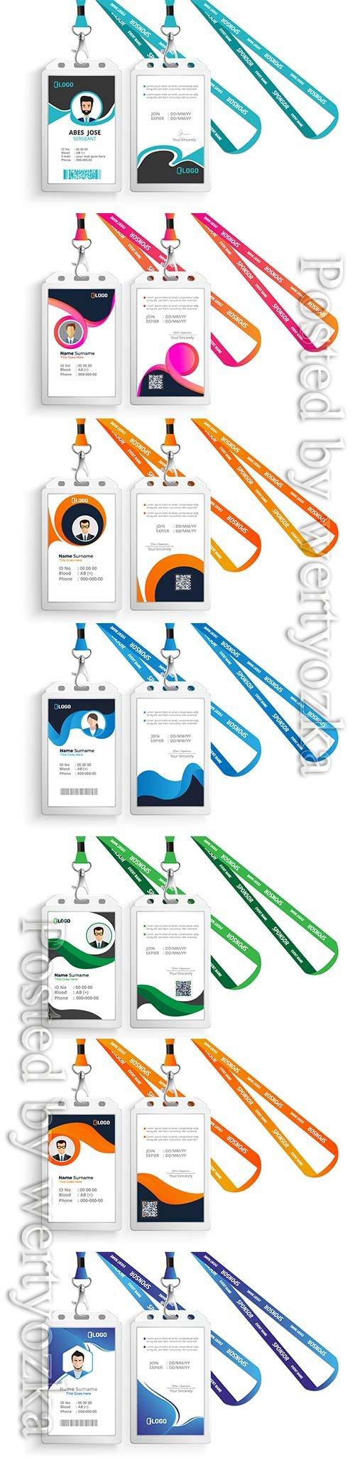 Id card with lanyard design set isolated vector illustration