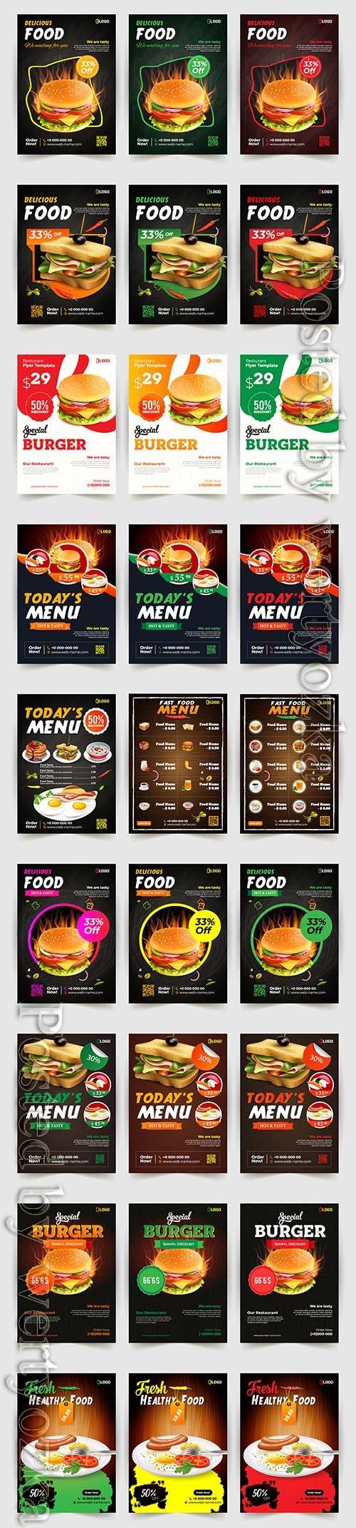 Fast food flyer design vector template, brochure flat design