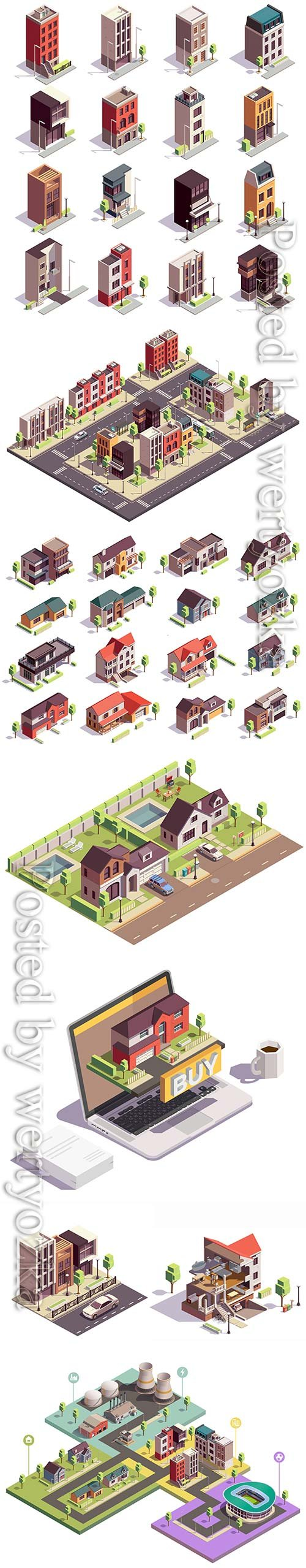 Townhouse buildings isometric vector set of sixteen isolated colourful buildings