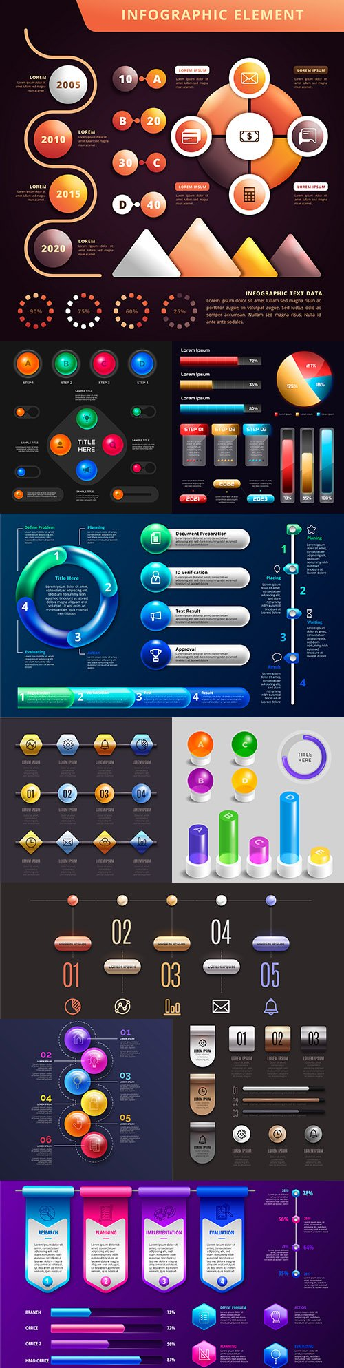 Business infographics 3d glossy design collection 7