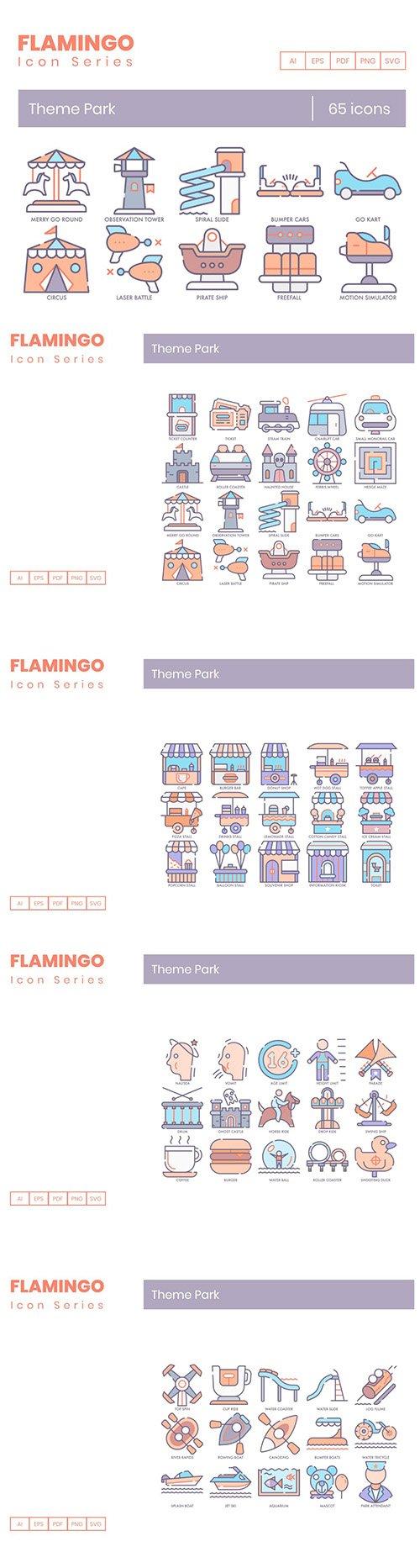 65 Theme Park Icons | Flamingo Series