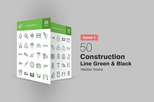50 Construction Line Green & Black Icons Season II