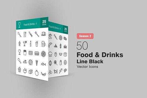 50 Food & Drinks Line Icons Season II
