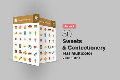 30 Sweets & Confectionery Flat Icons Season II