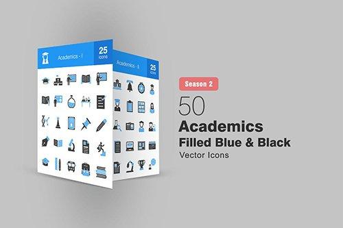 50 Academics Filled Blue & Black Icons Season II