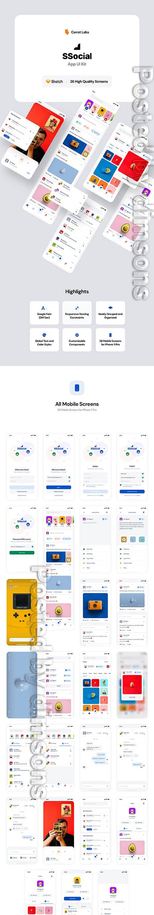 SSocial - App UI Kit