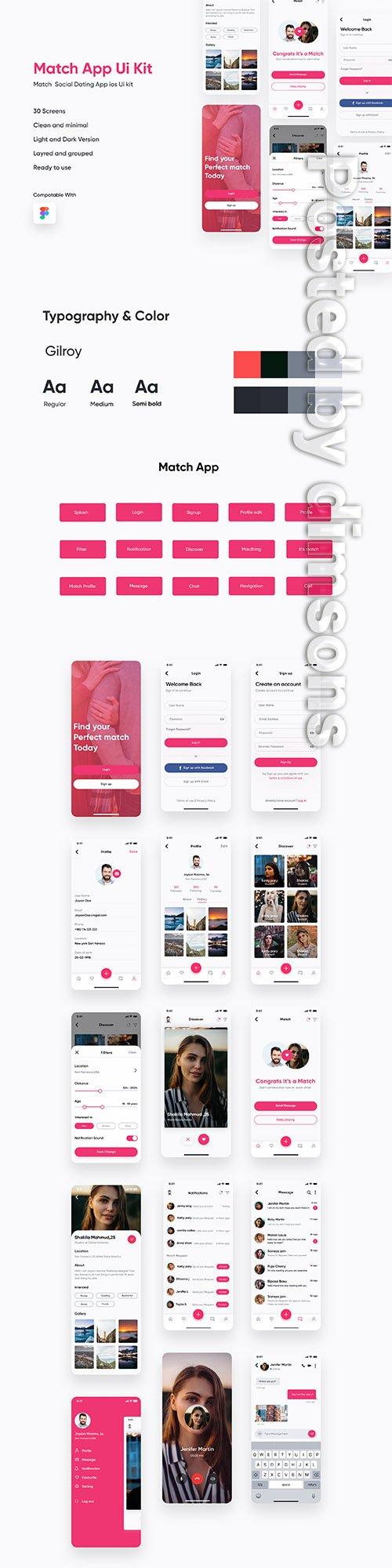 Match Dating App IOS UI Kit