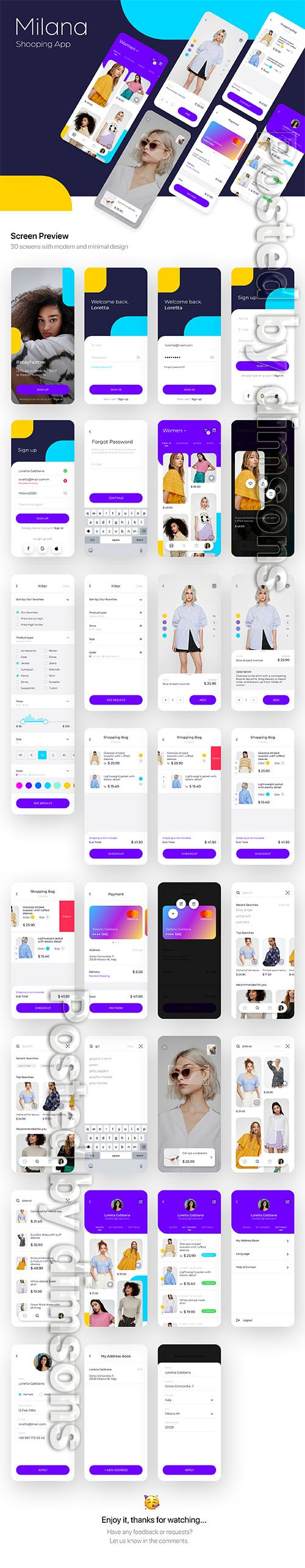 Milana Shopping App UI Kit