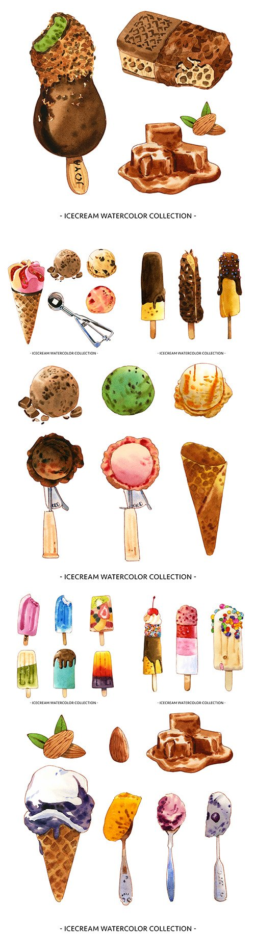 Ice cream with nuts and chocolate watercolor illustrations