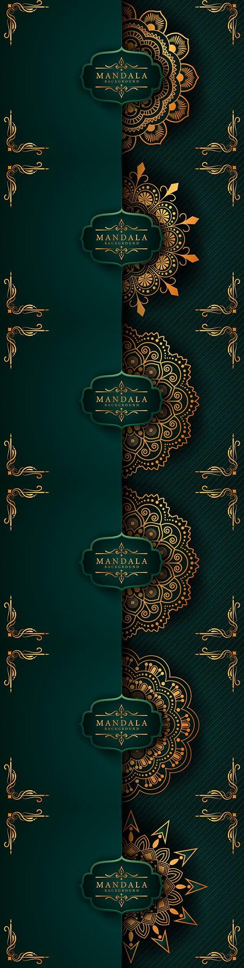 Mandala creative luxury green design background 7