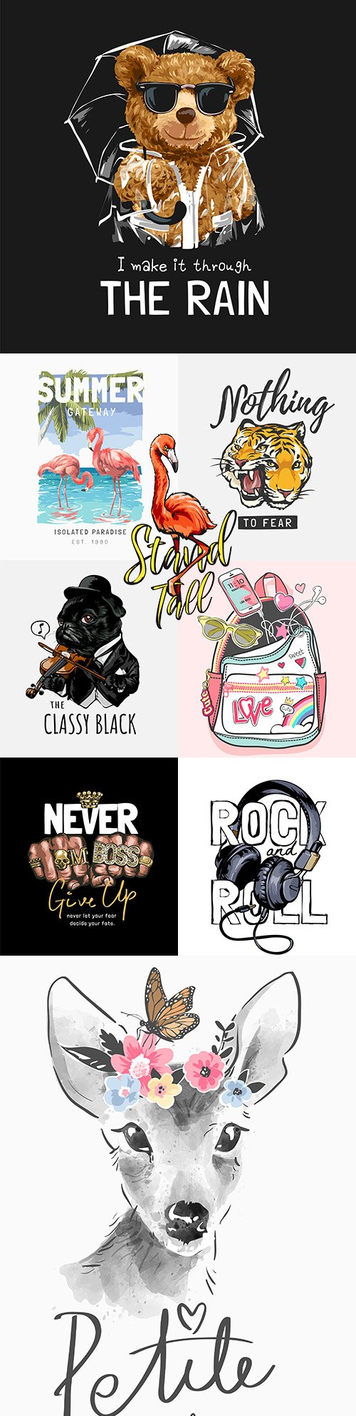 Stand slogan with cartoon vintage graphic illustration