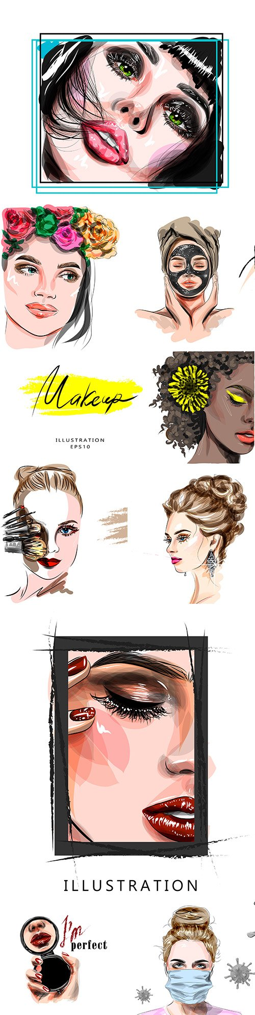 Fashion girl face with bright makeup illustration