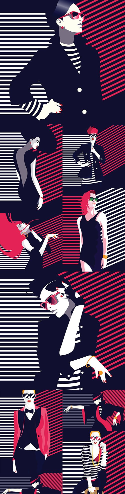 Fashion woman in pop art style illustration