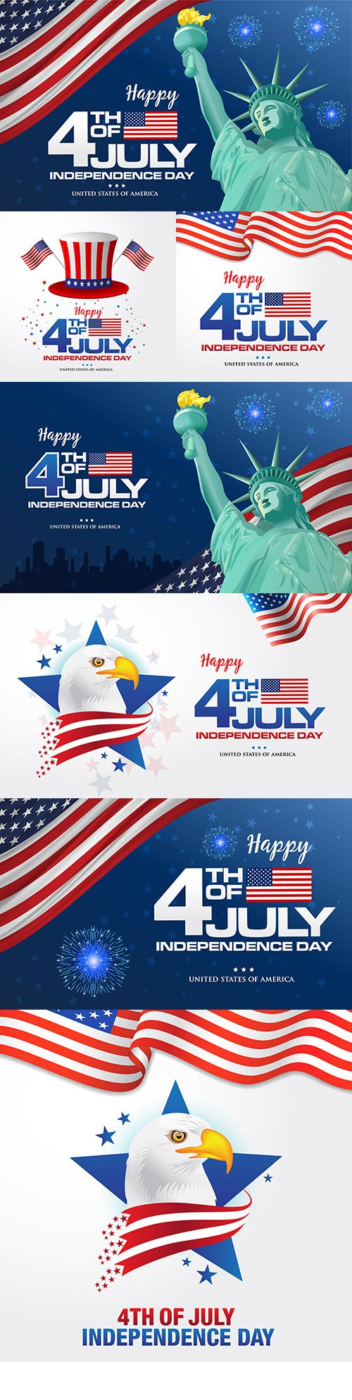 July 4 Independence Day America design illustrations 6