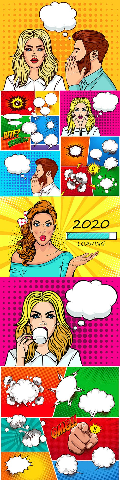 Young beautiful girl and speech bubbles style pop art