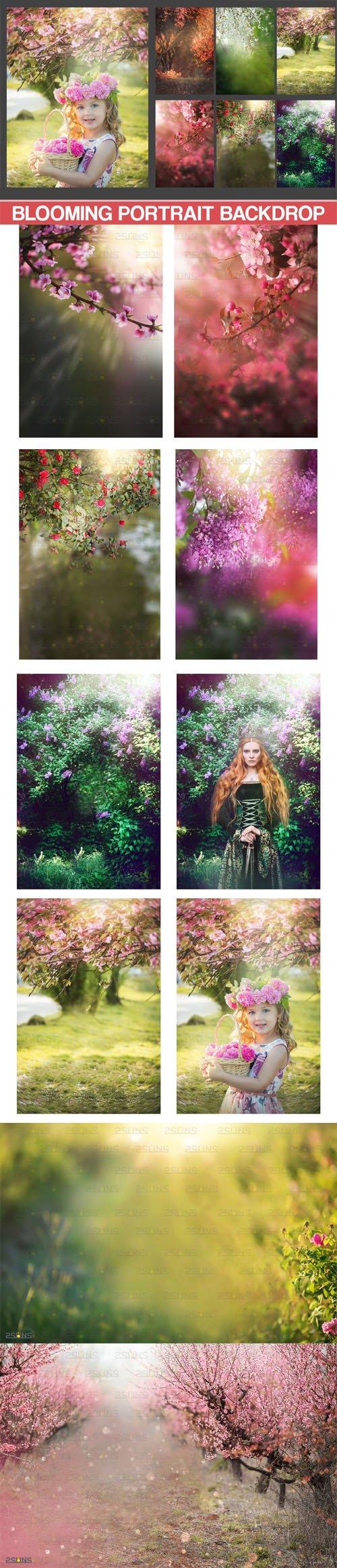 Blooming Portrait Backdrop Backgrounds Floral Art for Photoshop