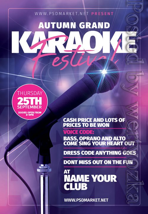 Karaoke festival - Premium flyer psd template