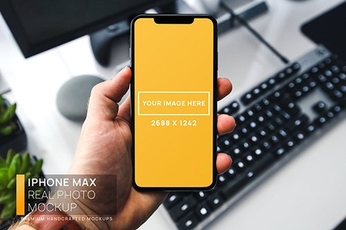 iPhone Max in Hand Real Photo Mockup