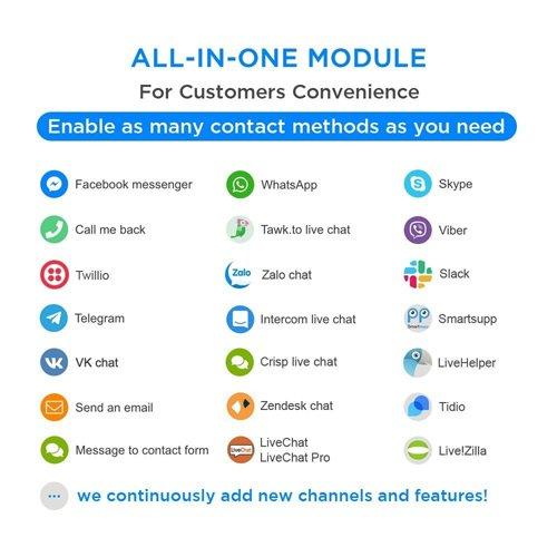 All-in-One - Live Chat, WhatsApp, Call Back, Messenger v1.6.4 - PrestaShop Module