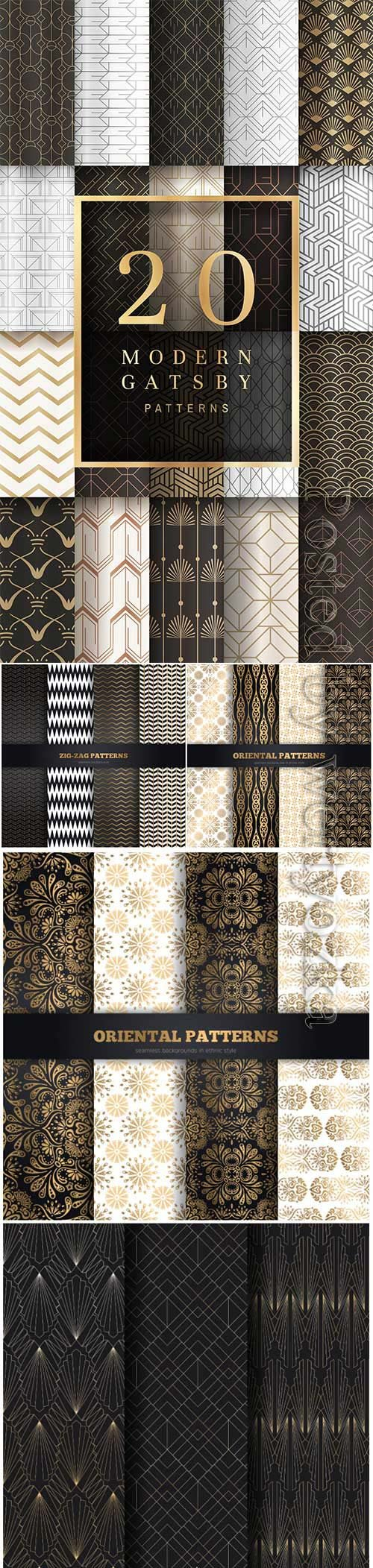 Collection seamless vector patterns