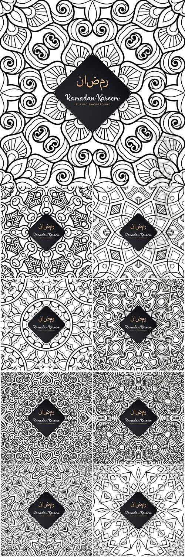 Ramadan kareem seamless pattern mandala vector background