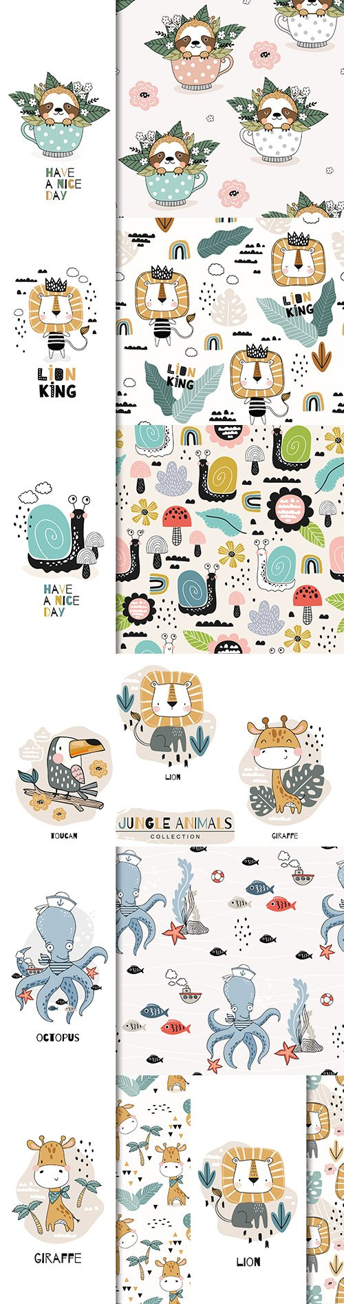 Cartoon cute animal characters seamless design illustration