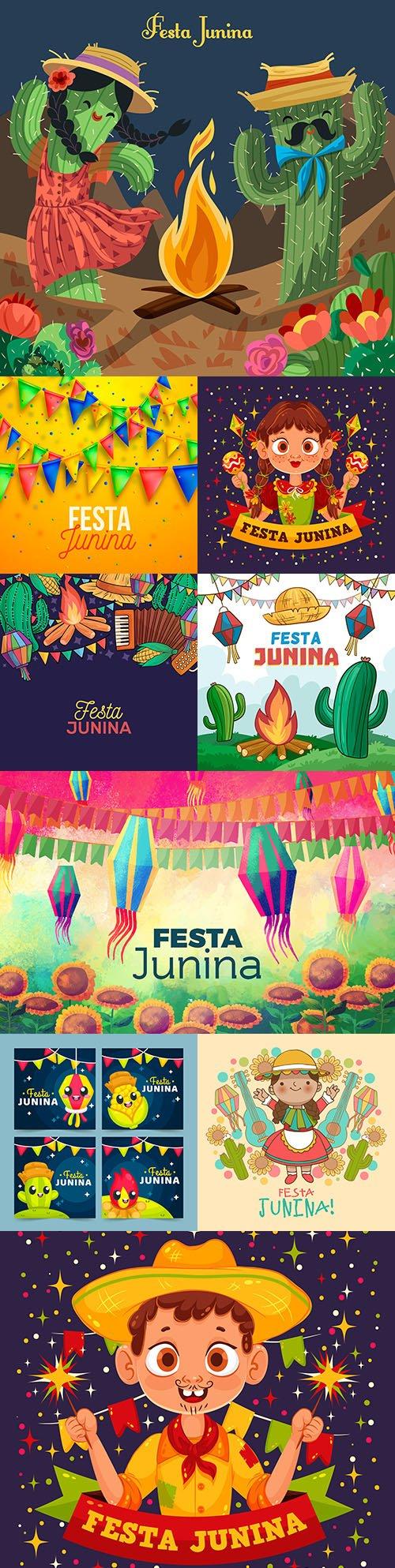 Festa Junina celebration drawn illustrations backgrounds