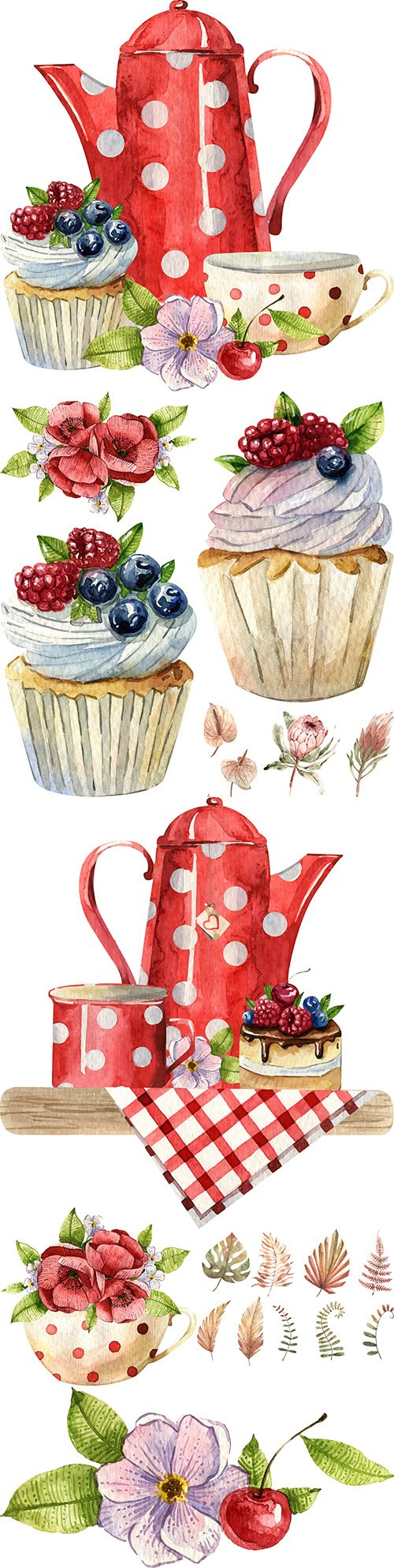 Breakfast tea time and cake summer watercolor illustration