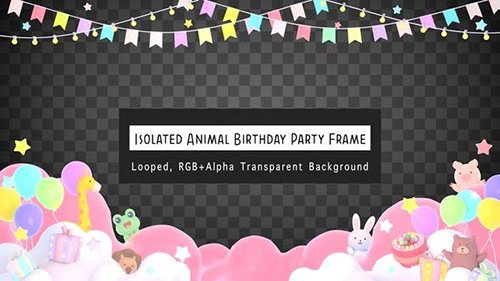 Isolated Animal Birthday Party Frame 26272428