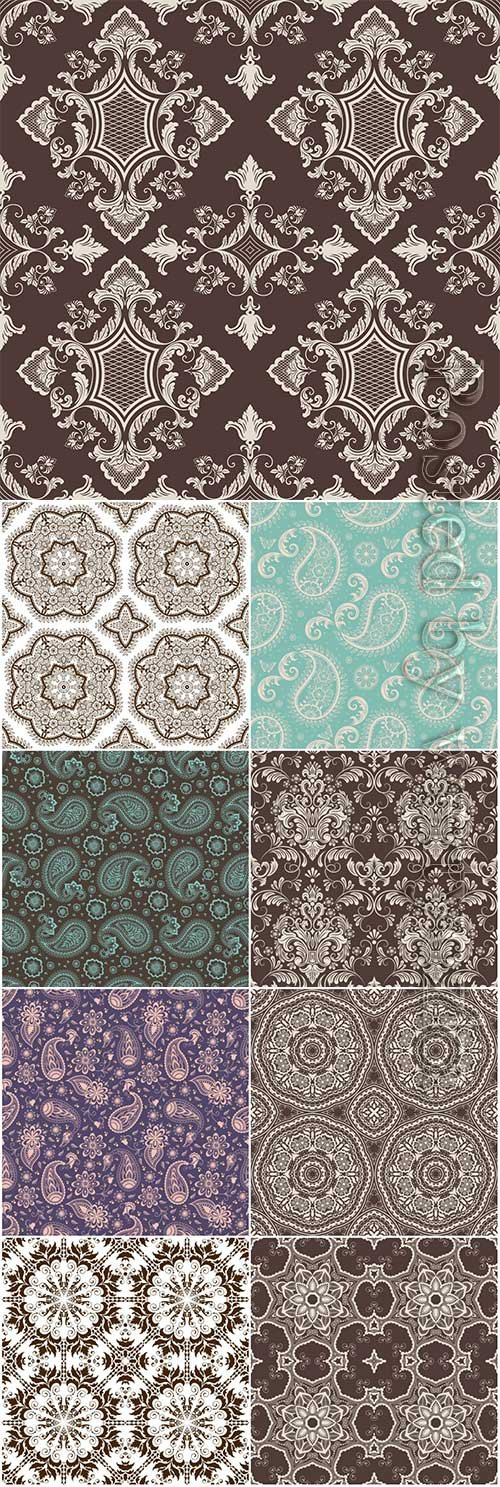 Floral seamless vector pattern background in arabian style