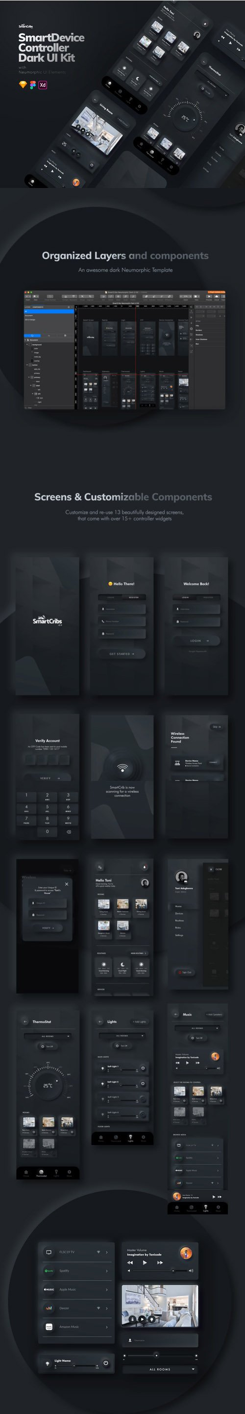 Dark Neumorphic UI Kit