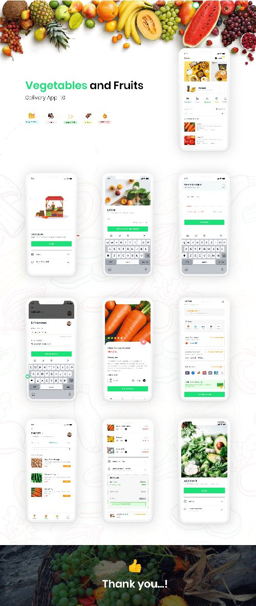 Adobe-XD Foods Ordering and Delivery App UI KIT