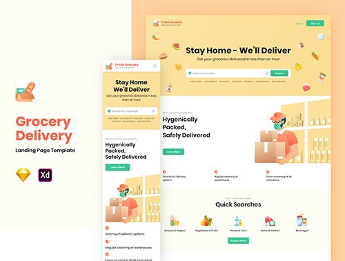 Fresh Grocery - Landing Page Design Template