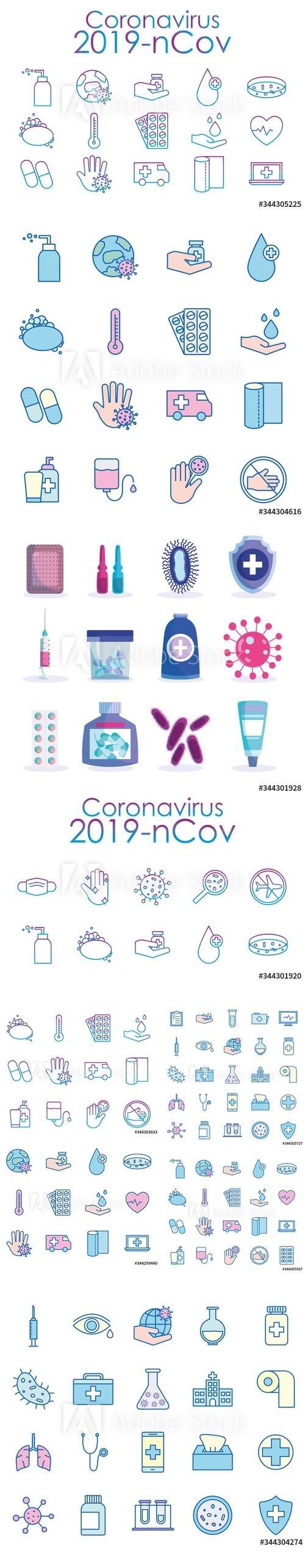 Covid 19 virus icon Vector set