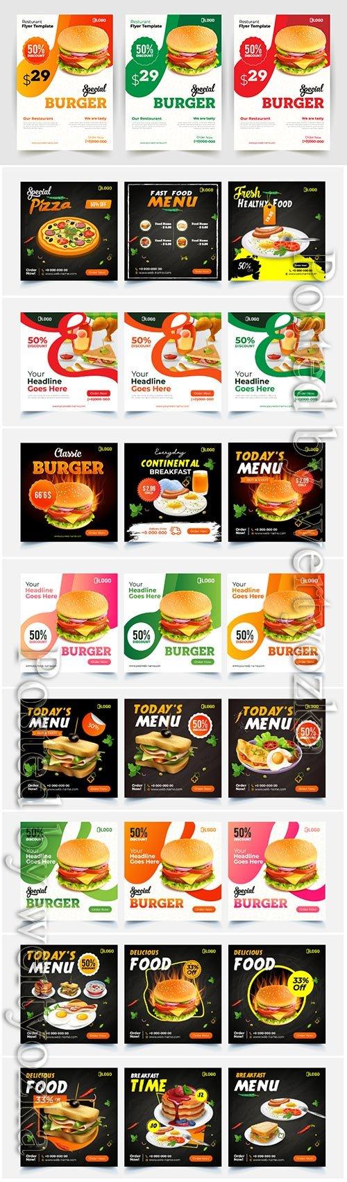 Fast food flyer, brochure design vector template