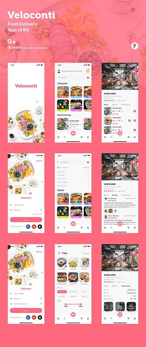 Veloconti - Food Delivery App UI Kit