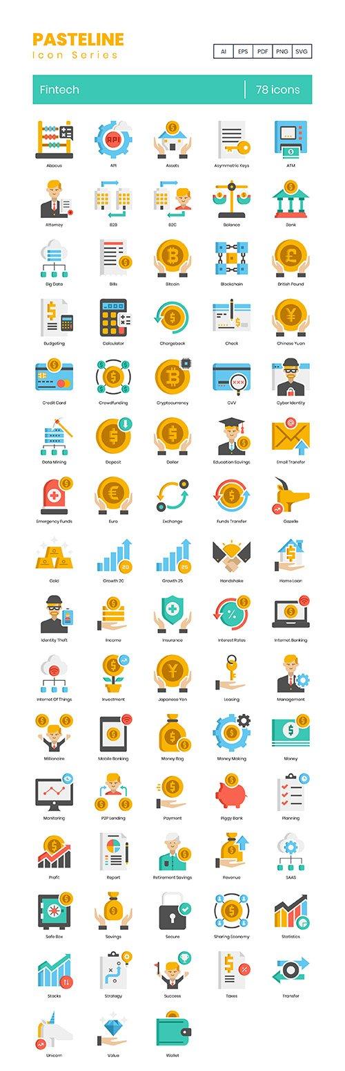 78 Fintech Icons | Pasteline Series