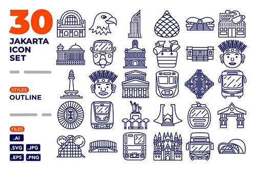Jakarta Icon Set (Outline)