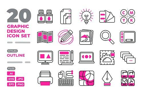 Graphic Design Icon Set (Outline)