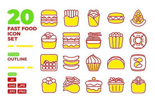 Fast Food Icon Set (Outline)