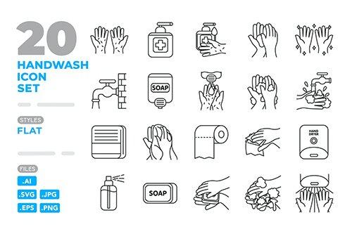 Handwash Icon Set (Outline)