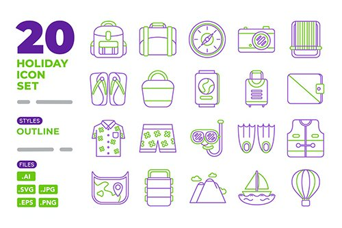 Holiday Icon Set (Outline)