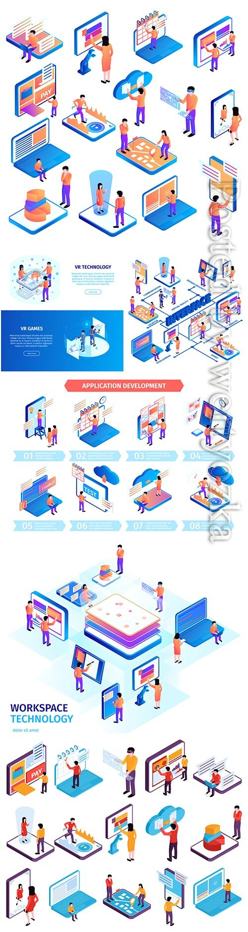 Isometric people interfaces infographics composition vector illustration